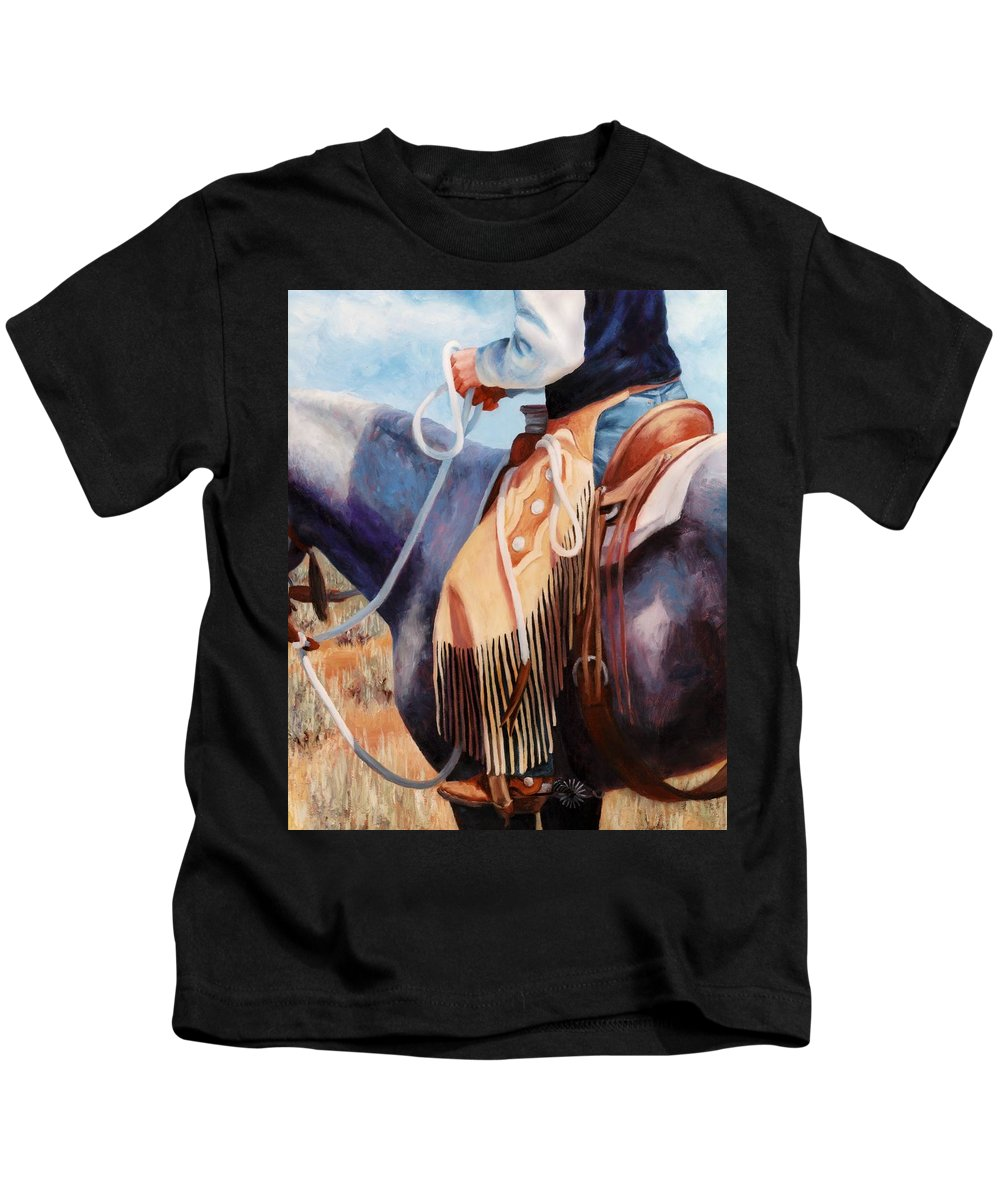 Chaps Kids T-Shirt featuring the painting Long Fringed Chink Chaps Western Art Cowboy Painting by Kim Corpany