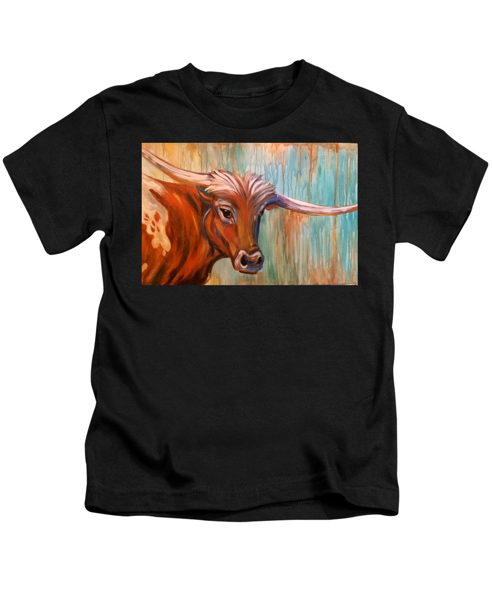 Long Horn Kids T-Shirt featuring the painting Long Horn by Rebecca Aguilar