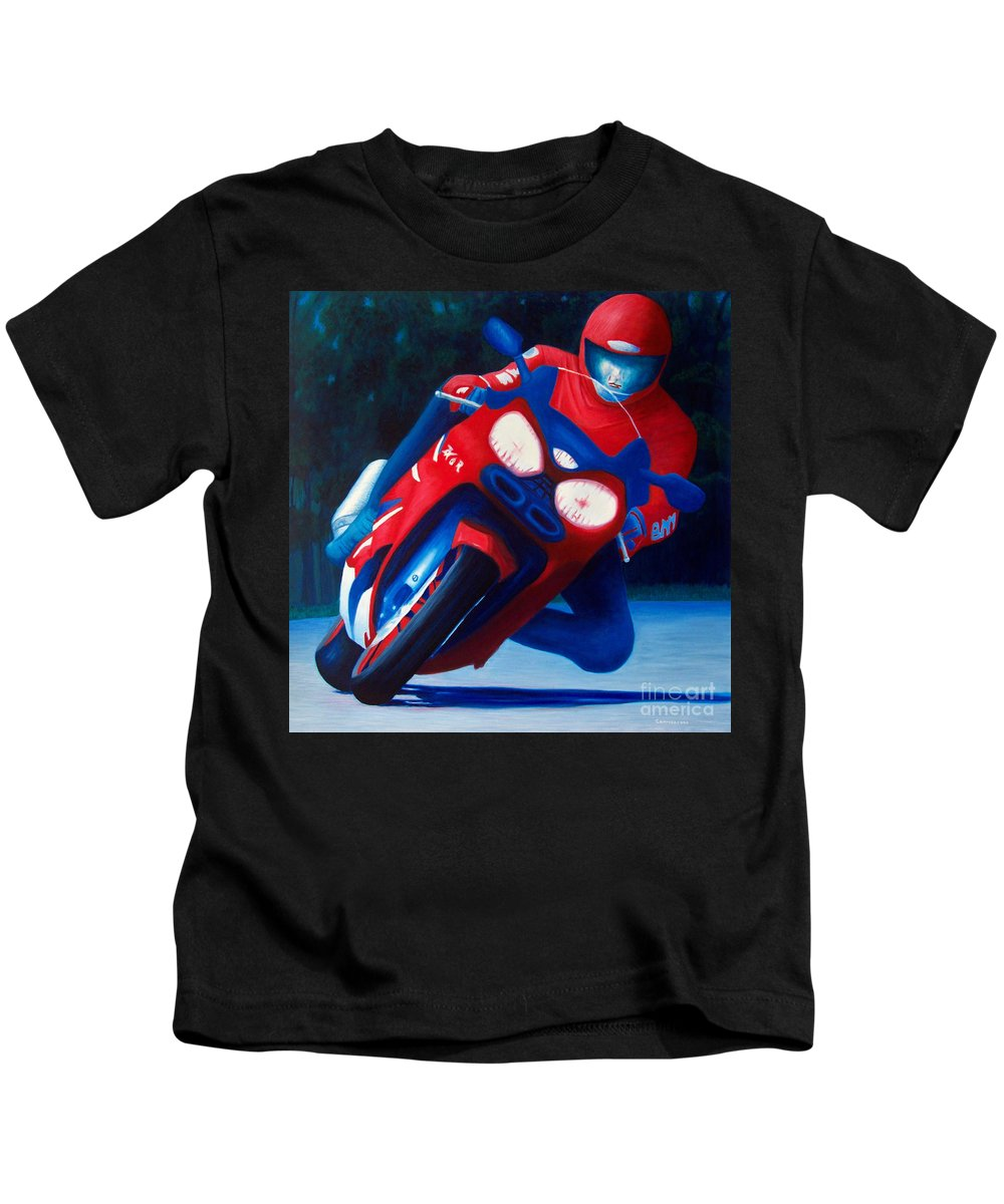 Motorcycle Kids T-Shirt featuring the painting Long Shadows - Kawasaki Zx6 by Brian Commerford