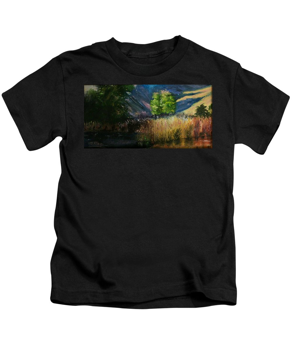 Landscape Kids T-Shirt featuring the painting Long Shadows by Stephen King