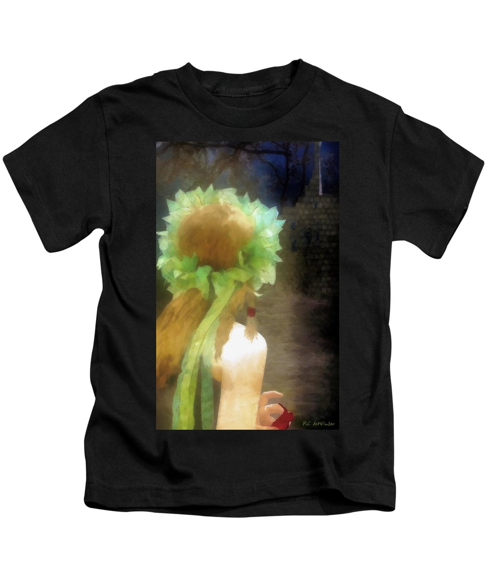 Fantasy Kids T-Shirt featuring the painting Looking Back - Long Lost Love by RC DeWinter