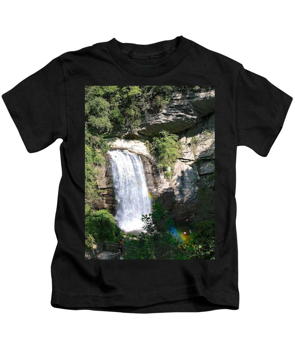 Landscape Kids T-Shirt featuring the photograph Looking Glass Falls Nc by Steve Karol
