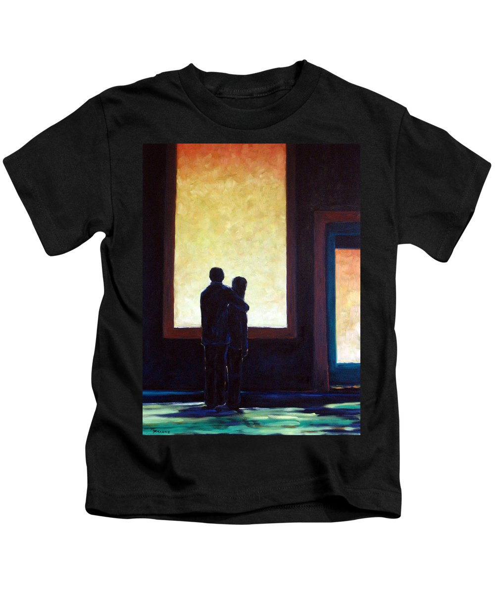 Pranke Kids T-Shirt featuring the painting Looking In Looking Out by Richard T Pranke