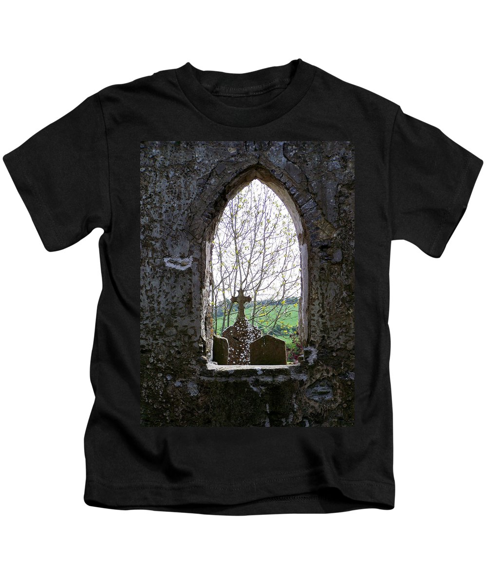 Ireland Kids T-Shirt featuring the photograph Looking Out Fuerty Church Roscommon Ireland by Teresa Mucha