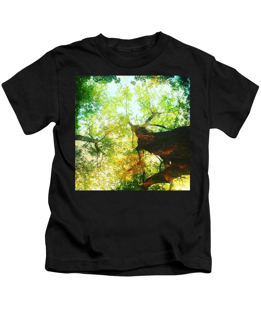 Leaf Kids T-Shirt featuring the photograph Looking Up by Modern Art