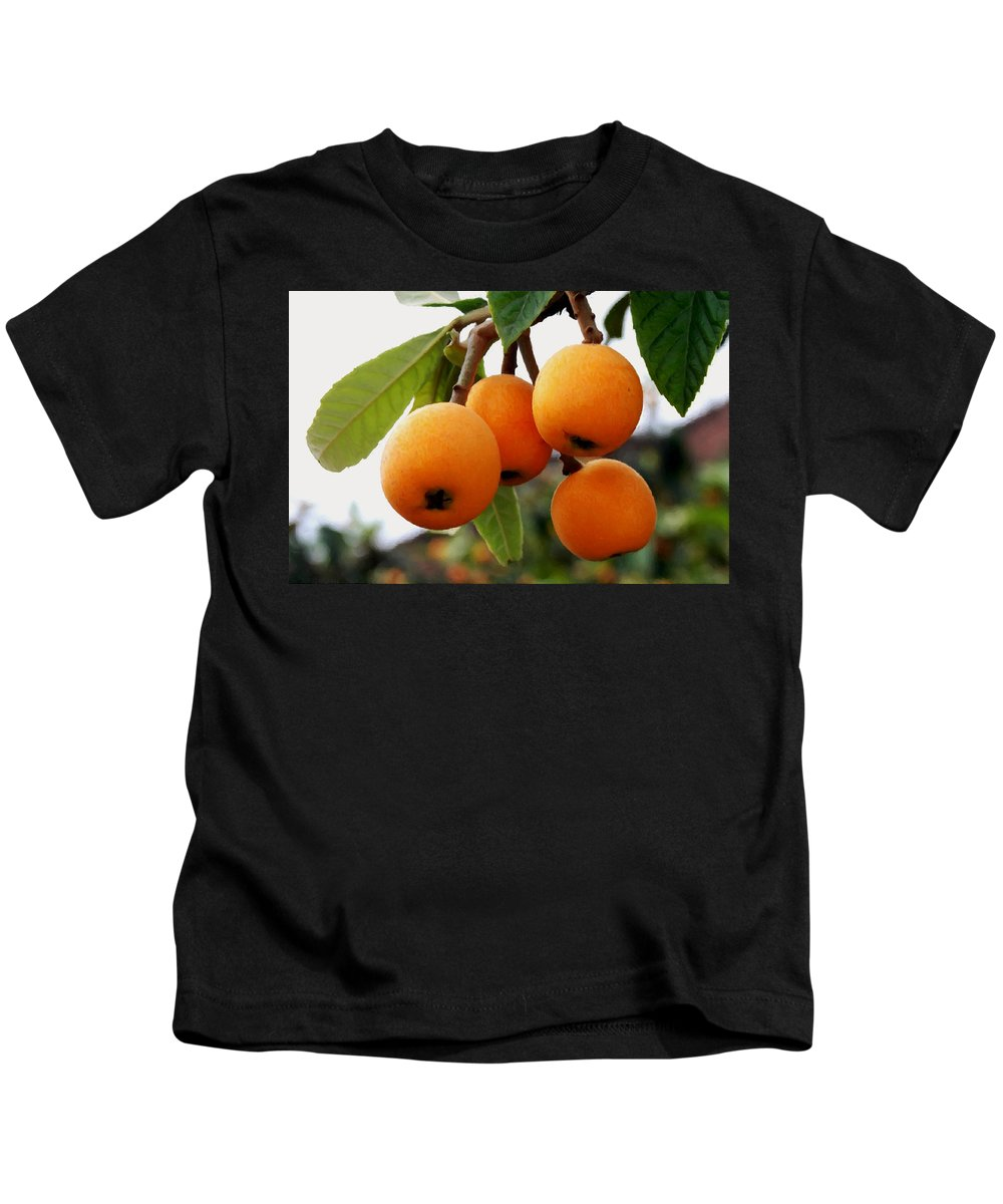 Loquats In The Tree Kids T-Shirt featuring the painting Loquats In The Tree 2 by Jeelan Clark