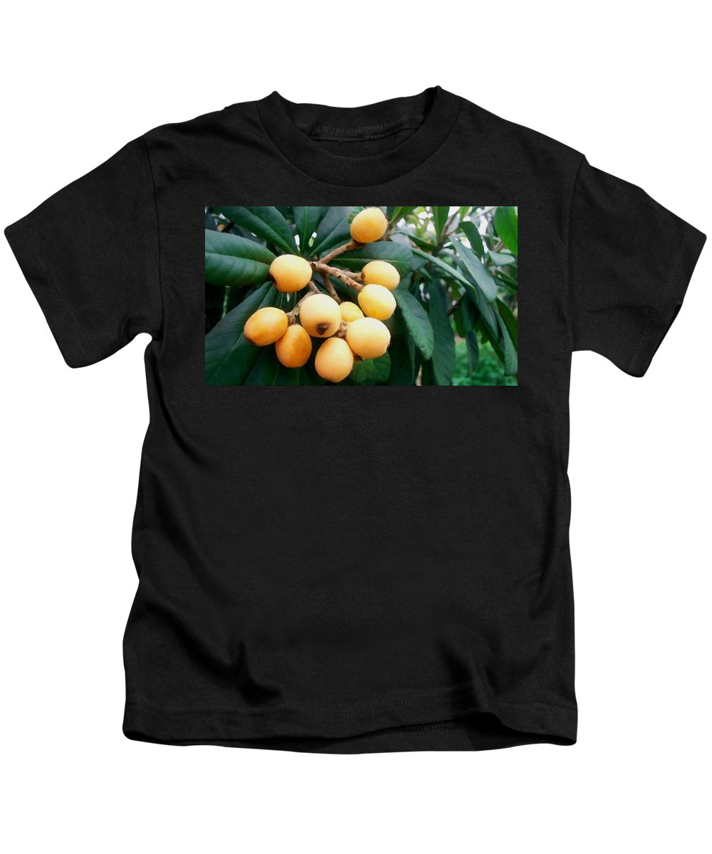 Loquats In The Tree Kids T-Shirt featuring the painting Loquats In The Tree 3 by Jeelan Clark
