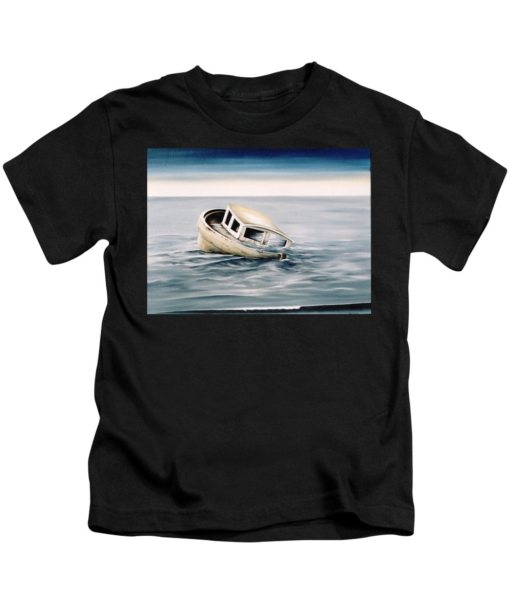 Seascape Kids T-Shirt featuring the painting Lost At Sea Contd by Mark Cawood