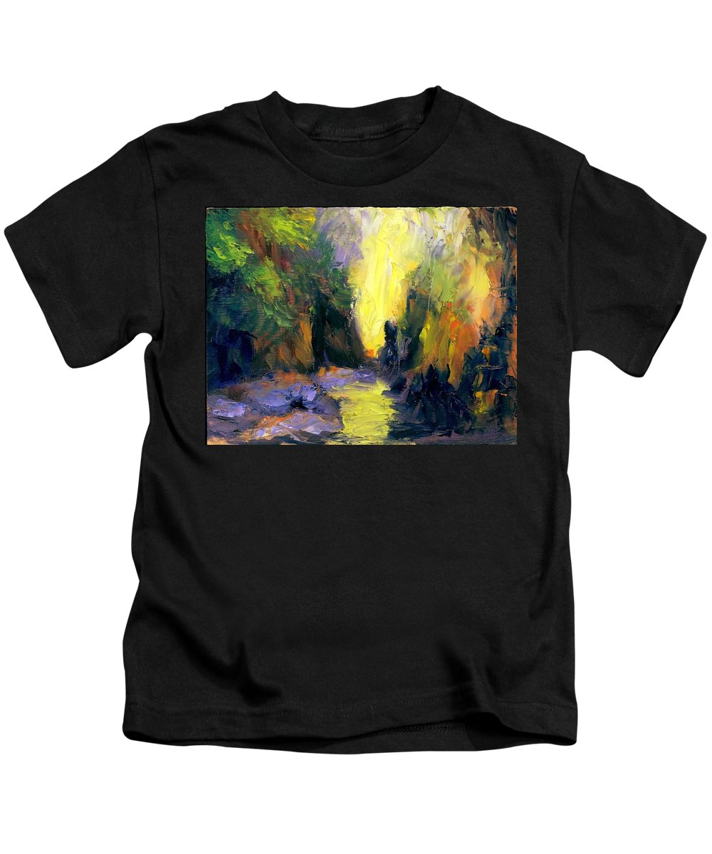 Landscape Kids T-Shirt featuring the painting Lost Creek by Gail Kirtz