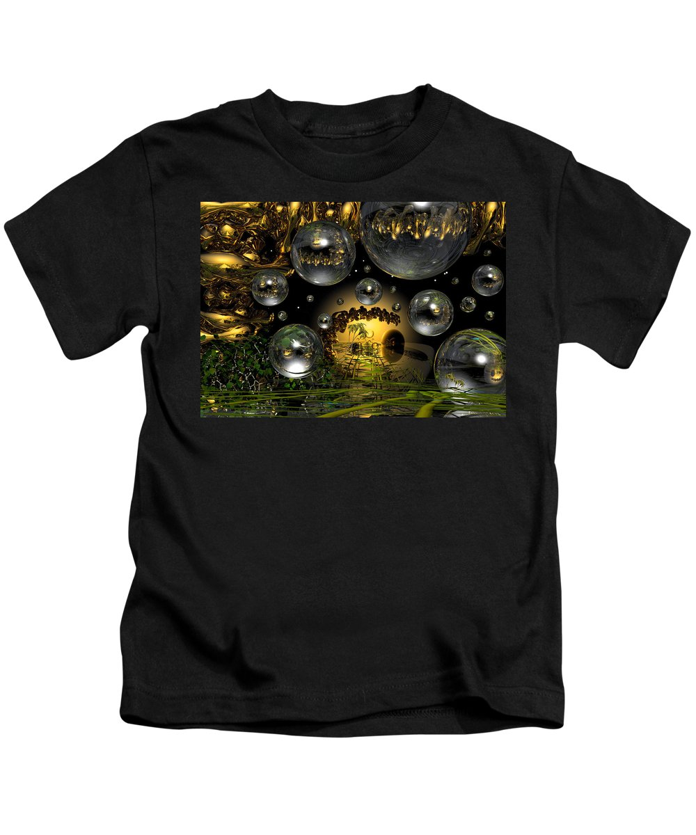 Bubble Kids T-Shirt featuring the digital art Lost Paradise by Robert Orinski