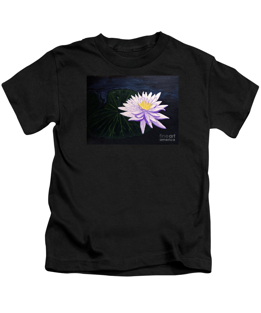 Original Painting Kids T-Shirt featuring the painting Lotus Blossom At Night by Patricia Griffin Brett