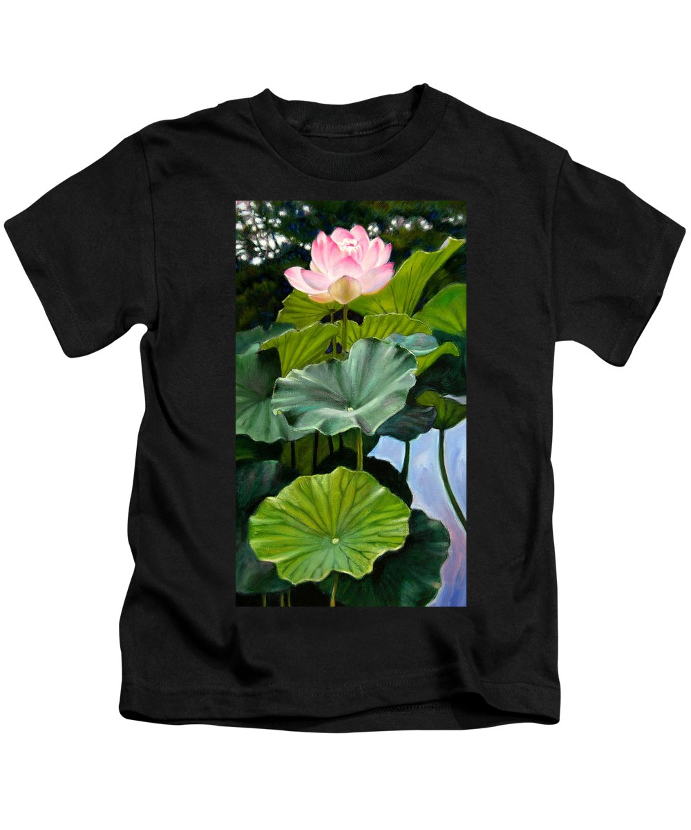 Lotus Flower Kids T-Shirt featuring the painting Lotus Rising by John Lautermilch