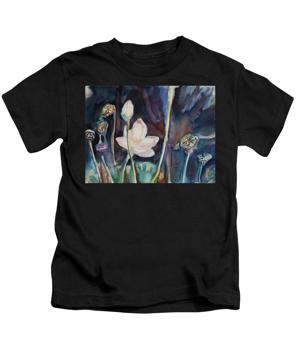 Watercolor Kids T-Shirt featuring the painting Lotus Study II by Xueling Zou