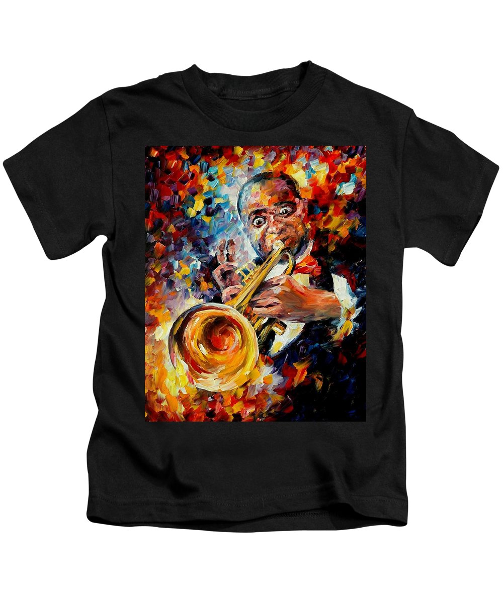 Music Kids T-Shirt featuring the painting Louis Armstrong by Leonid Afremov