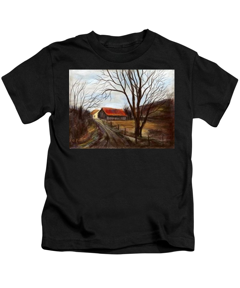 Barn Kids T-Shirt featuring the painting Louisa Kentucky Barn by Gail Kirtz