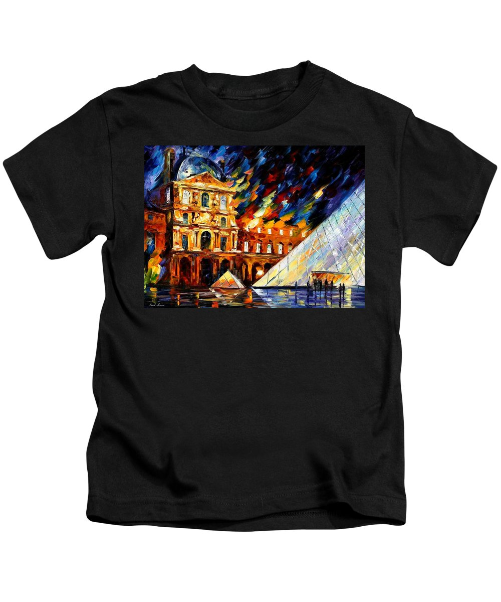 Afremov Kids T-Shirt featuring the painting Louvre Museum by Leonid Afremov