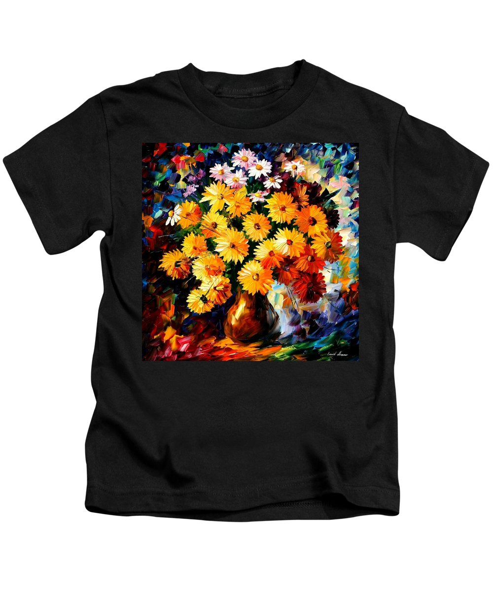 Flowers Kids T-Shirt featuring the painting Love Irradiation by Leonid Afremov