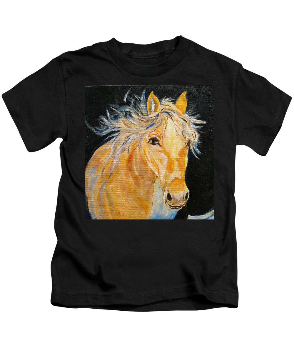 Horses Kids T-Shirt featuring the painting Love Story by Donna Steward