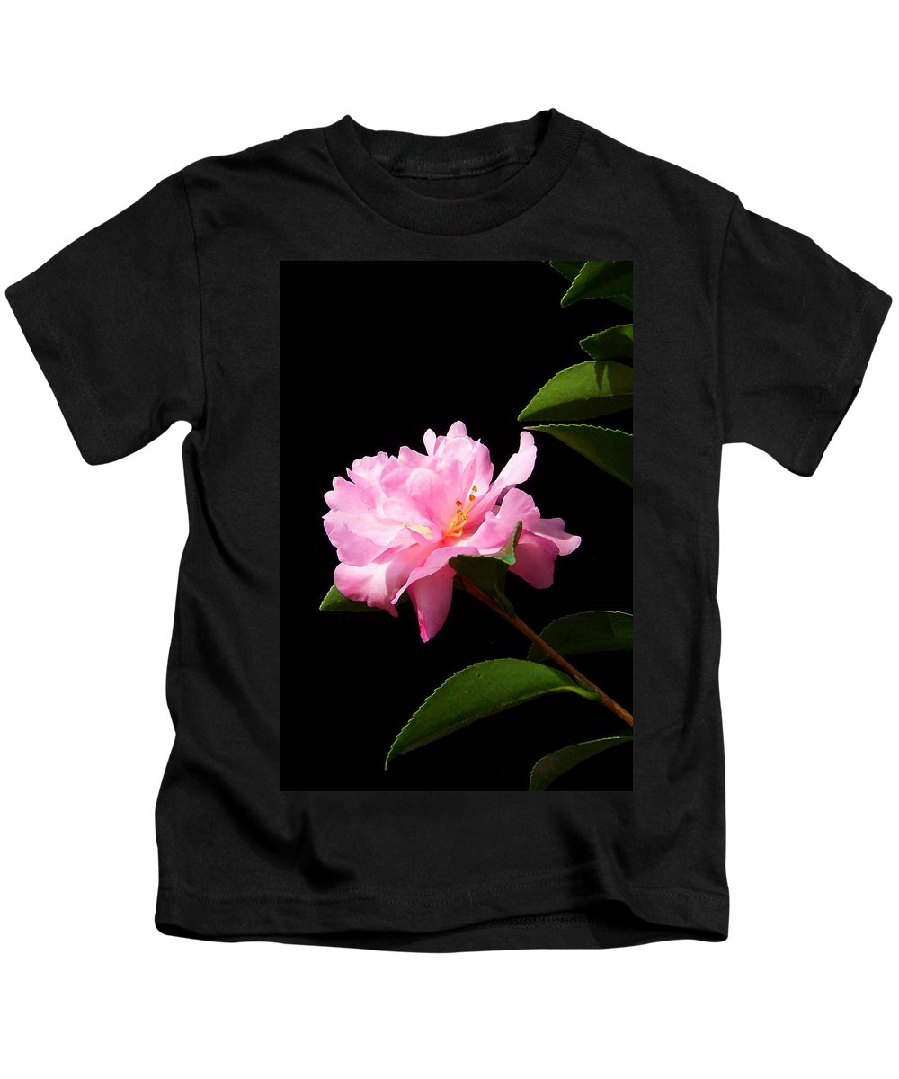 Flower Kids T-Shirt featuring the photograph Lovely Pink Camelia by Laurie Paci
