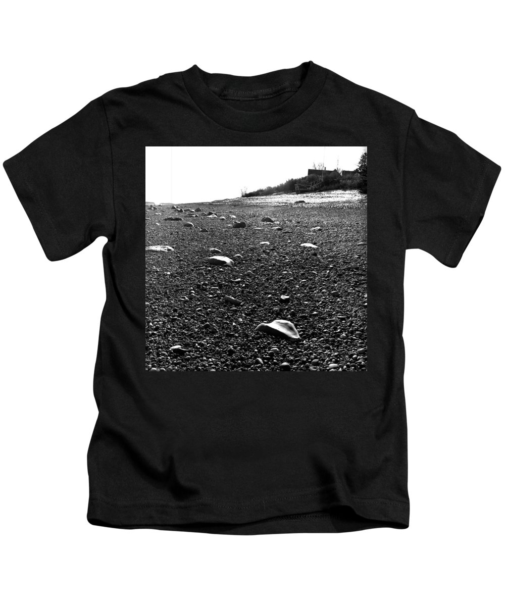 Black And White Kids T-Shirt featuring the photograph Low Tide At Linwood's House 26 by Timothy Bischoff