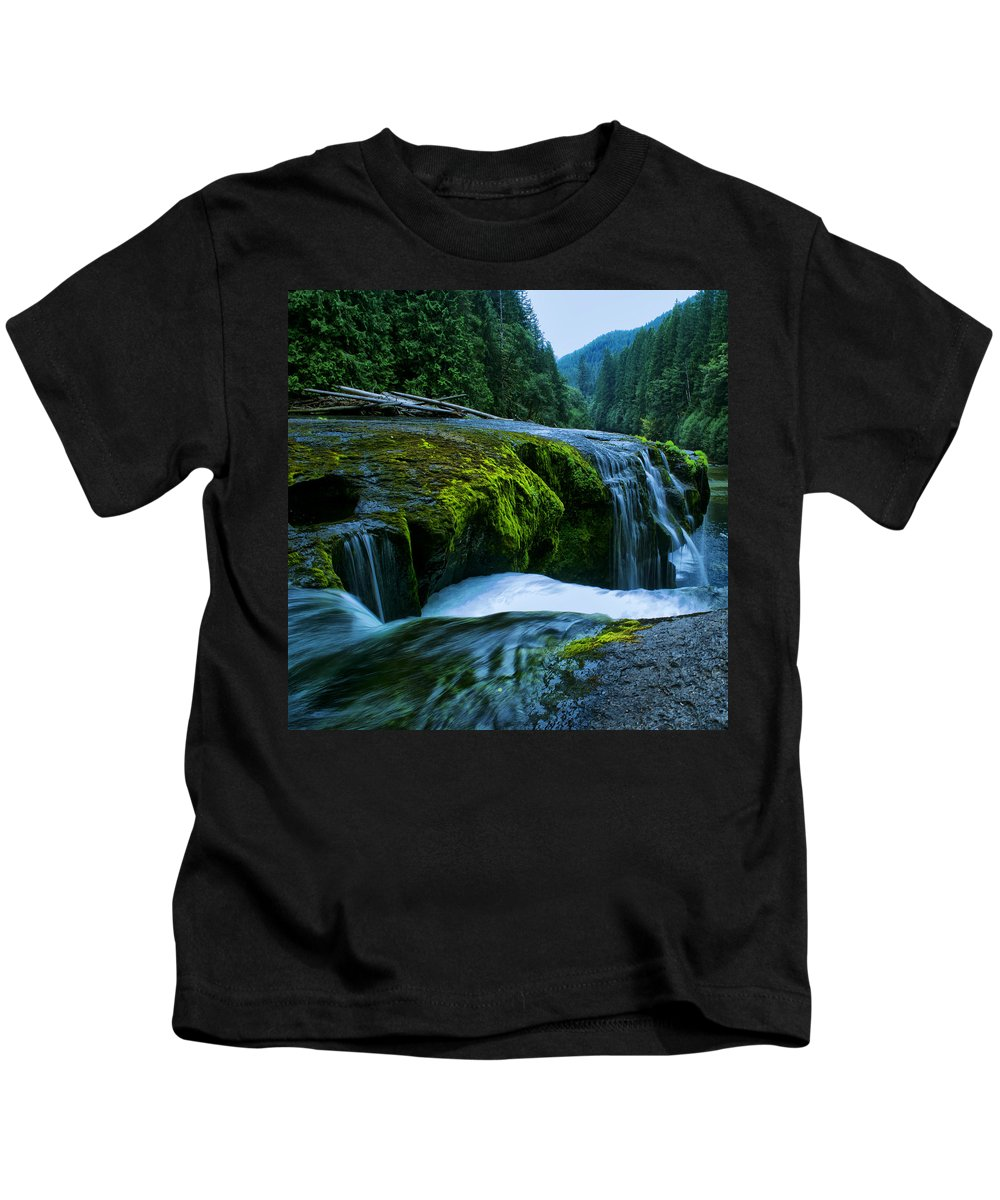 Clearwater Falls Kids T-Shirt featuring the photograph Lower Lewis Falls 1 by Ingrid Smith-Johnsen