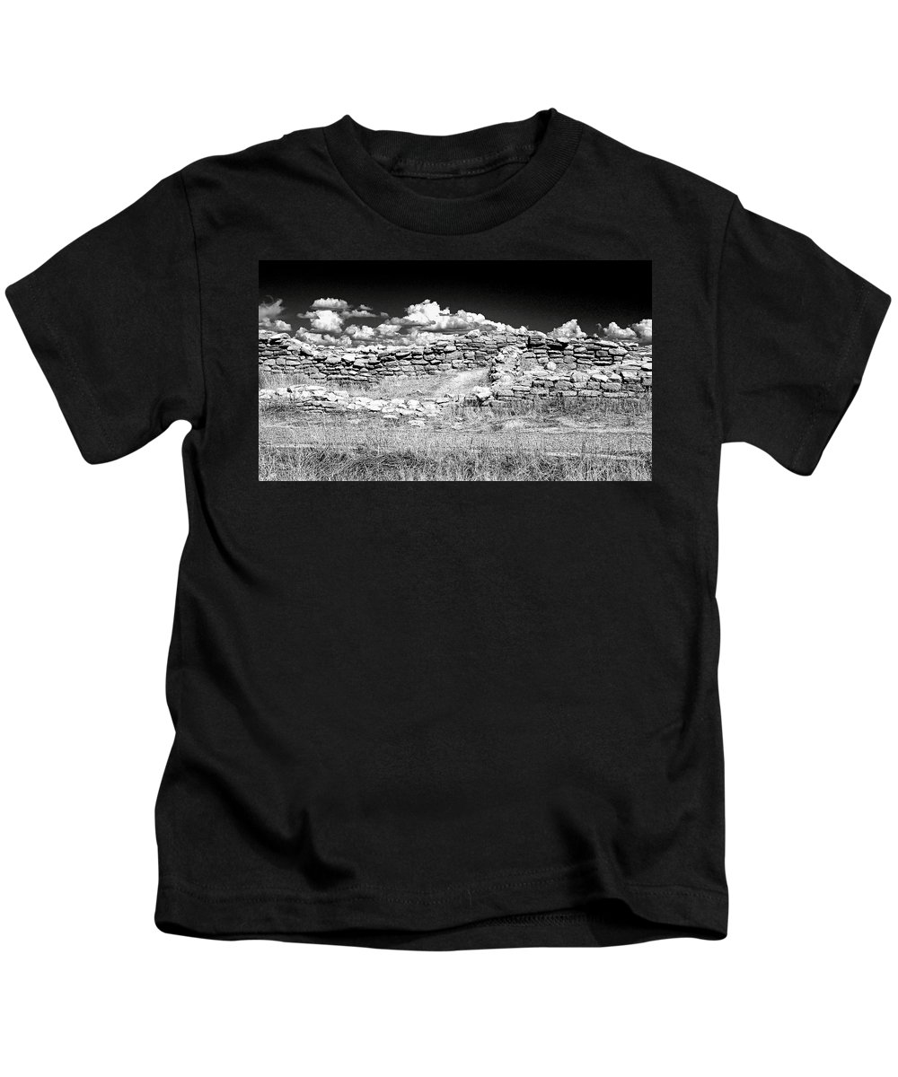 Lowry Kids T-Shirt featuring the photograph Lowry Pueblo Ruin Black And White by David Ross