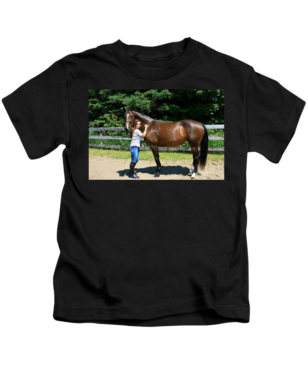 Kids T-Shirt featuring the photograph Lucia-cora8 by Life With Horses