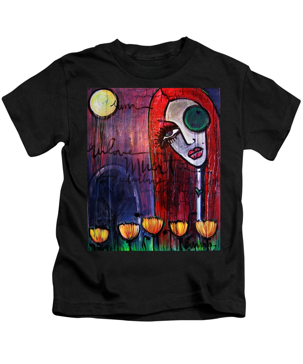 Luna Kids T-Shirt featuring the painting Luna Our Love Muertos by Laurie Maves ART