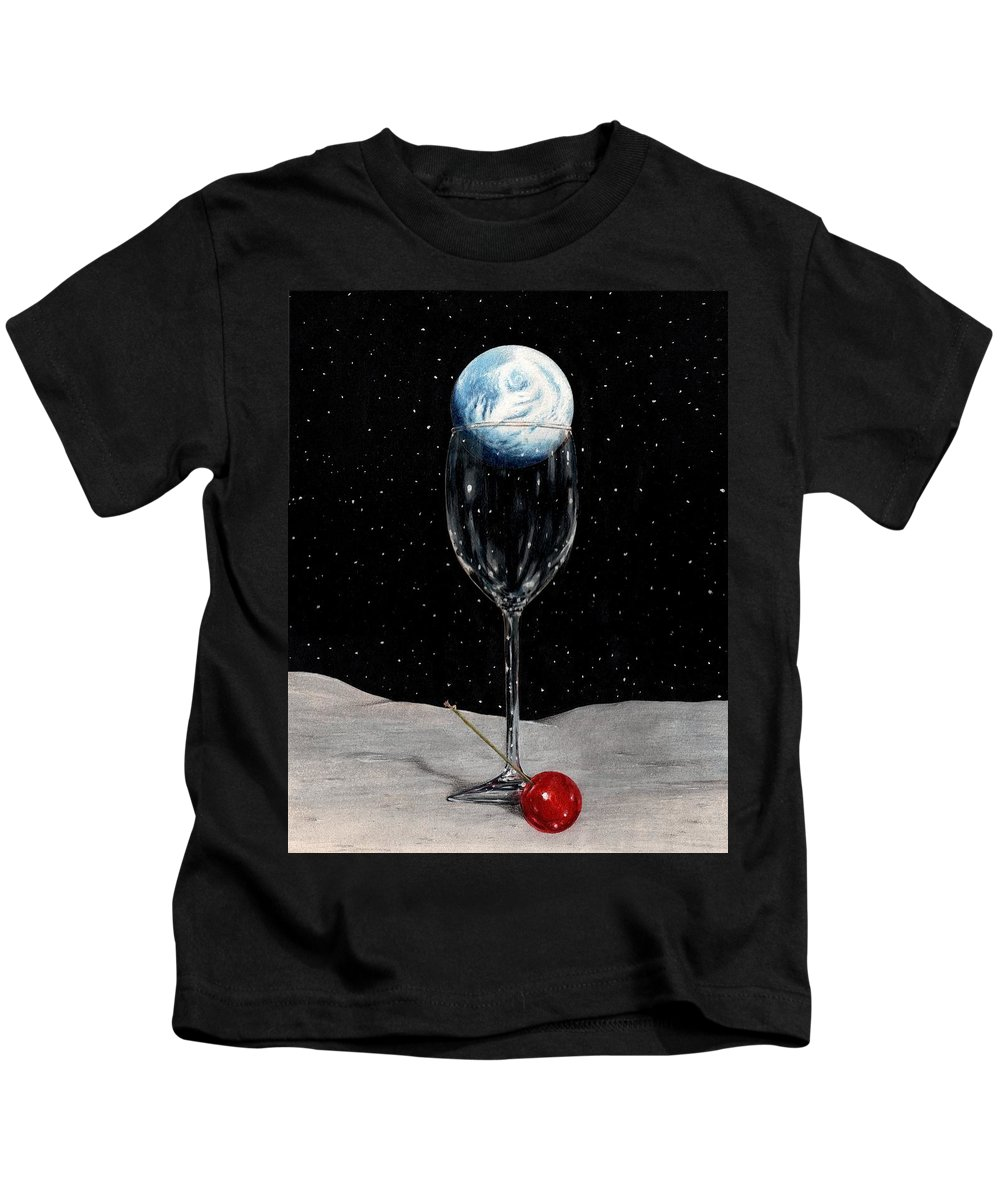 Moon Earth Space Cocktail Glass Art Bruce Lennon Art Kids T-Shirt featuring the painting Lunar Cocktail by Bruce Lennon