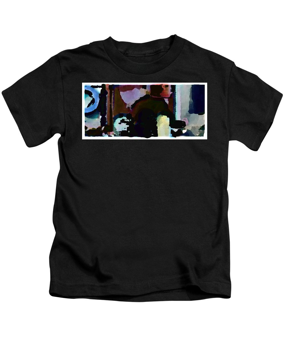 Abstract Expressionism Kids T-Shirt featuring the painting Lunch Counter by Steve Karol