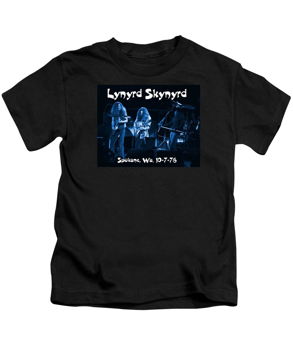 Lynyrd Skynyrd Kids T-Shirt featuring the photograph L S Smoke The Blues In Spokane 10-7-76 by Ben Upham