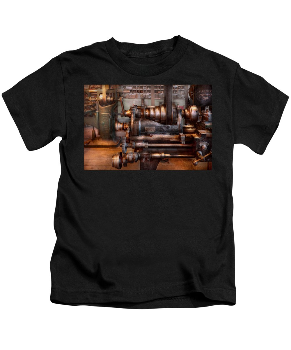 Machinist Kids T-Shirt featuring the photograph Machinist - Steampunk - 5 Speed Semi Automatic by Mike Savad