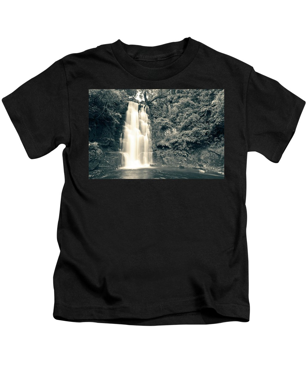 Catlins Kids T-Shirt featuring the photograph Maclean Falls New Zealand by U Schade
