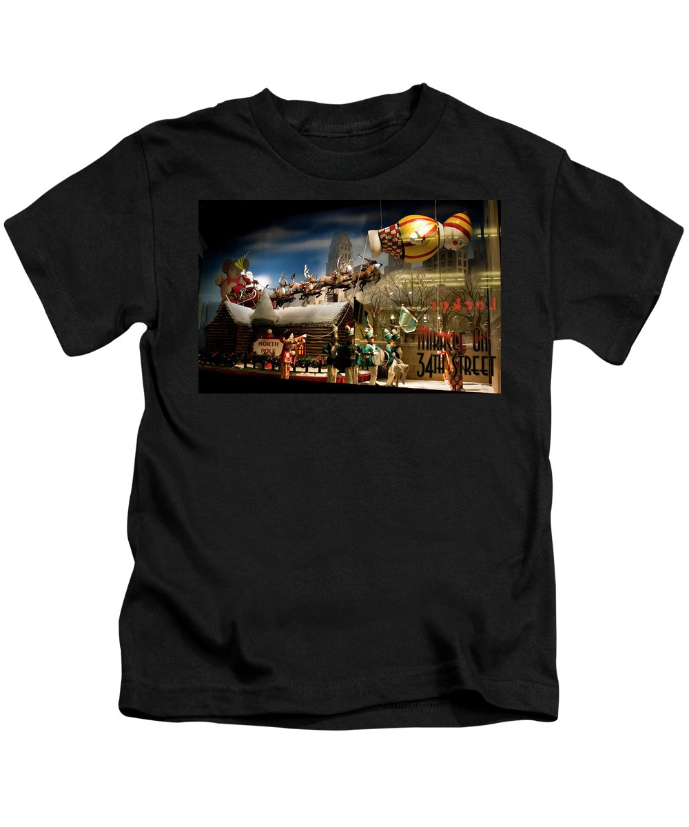 New York City Kids T-Shirt featuring the photograph Macy's Miracle On 34th Street Christmas Window by Lorraine Devon Wilke