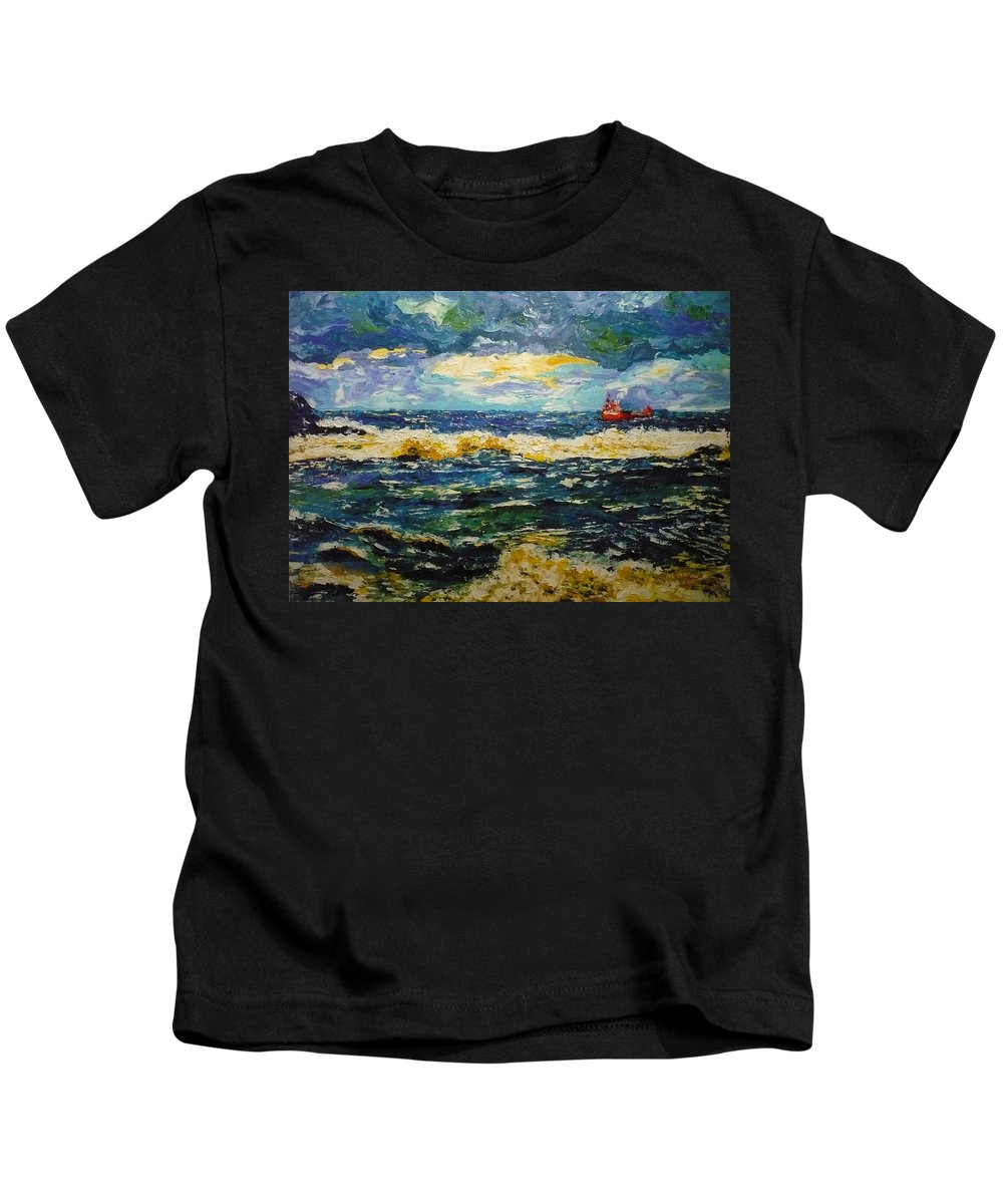 Sea Kids T-Shirt featuring the painting Mad Sea by Ericka Herazo
