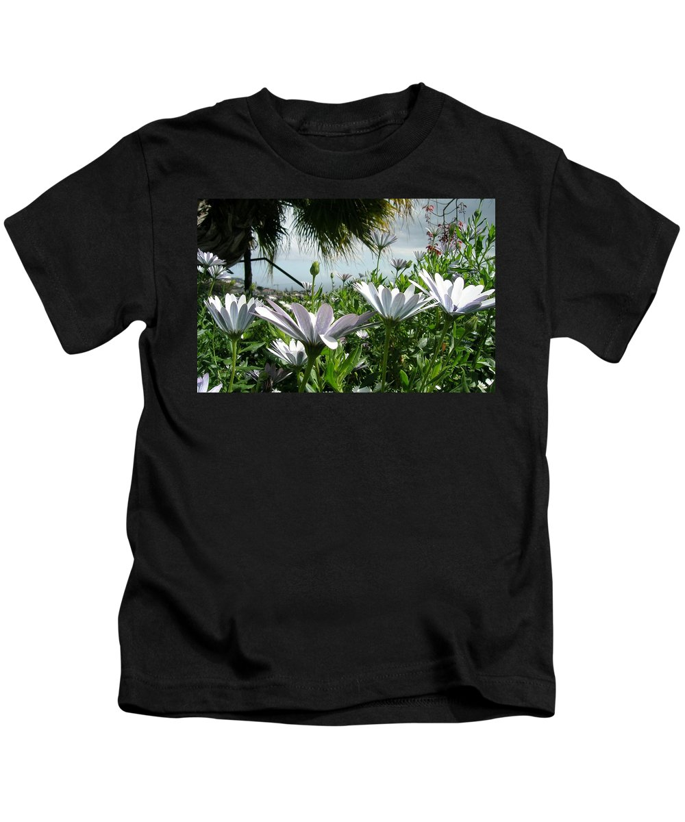 Landscape Kids T-Shirt featuring the photograph Madeira Daisies by Valerie Ornstein