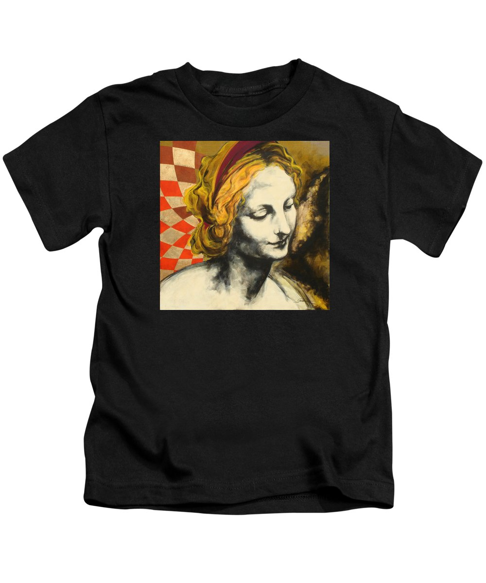 Pop Kids T-Shirt featuring the painting Madona Face by Jean Pierre Rousselet