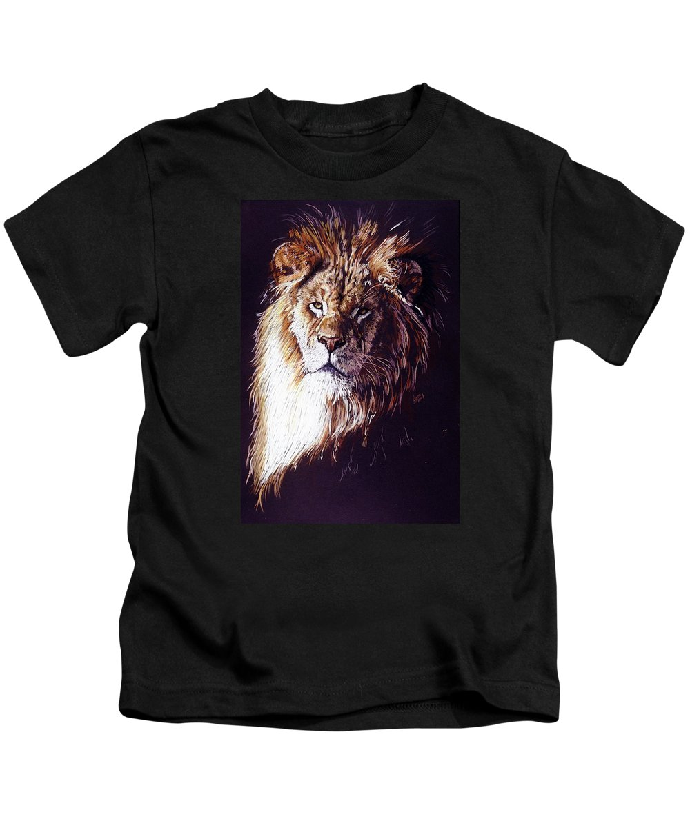 Lion Kids T-Shirt featuring the drawing Maestro by Barbara Keith