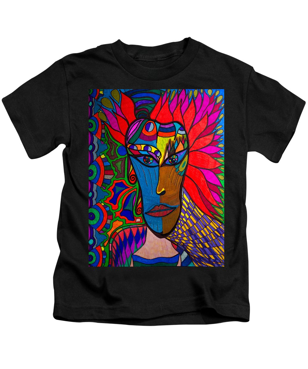 Magdalena Kids T-Shirt featuring the painting Magdalena On Fire - Mask - Abstract Face by Marie Jamieson