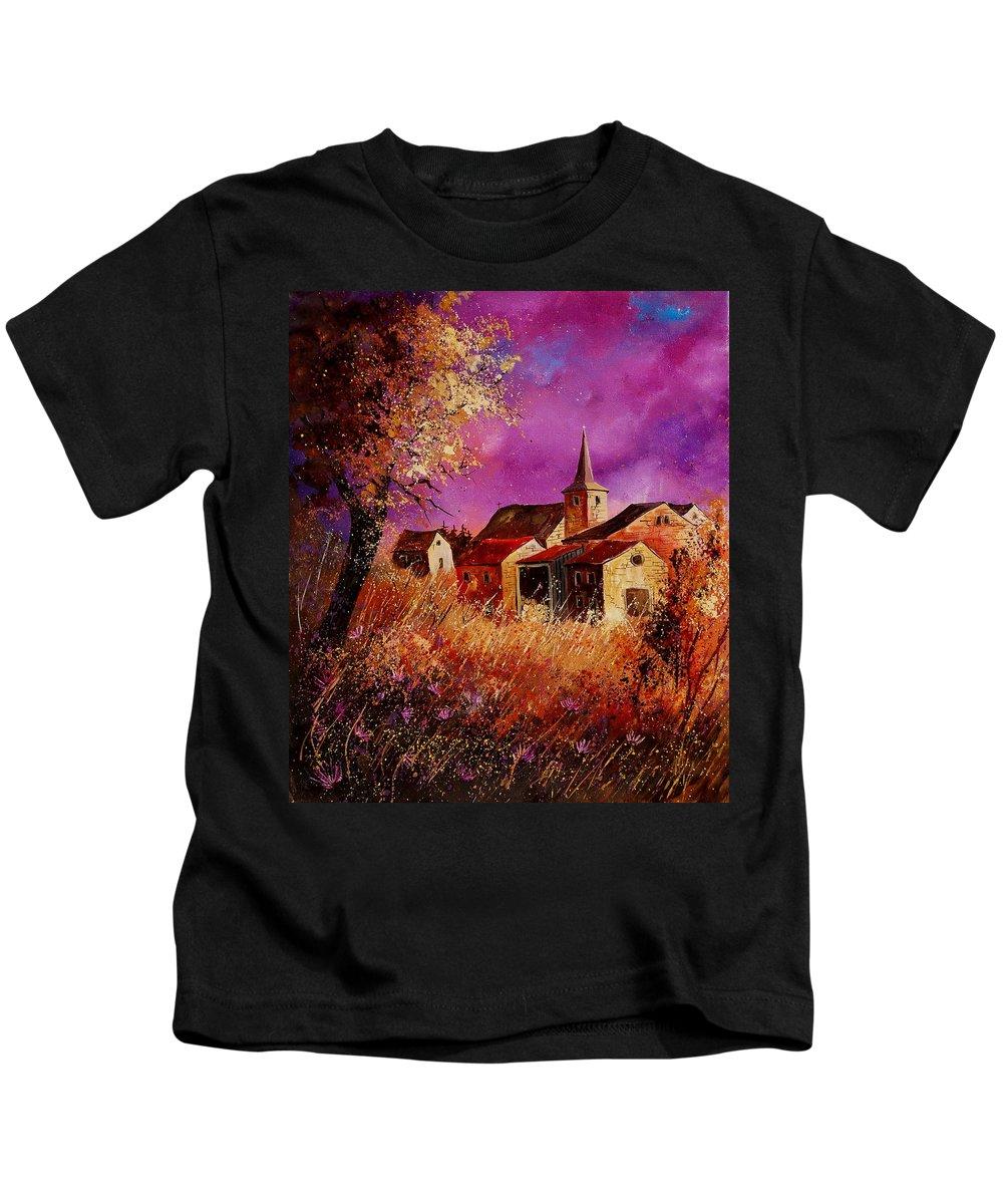 Landscape Kids T-Shirt featuring the painting Magic Autumn by Pol Ledent