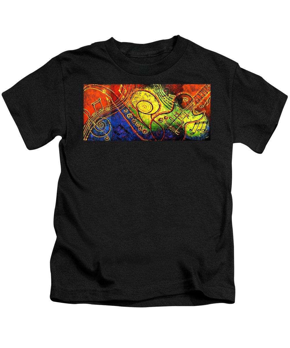 West Coast Jazz Kids T-Shirt featuring the painting Magic Guitar by Leon Zernitsky