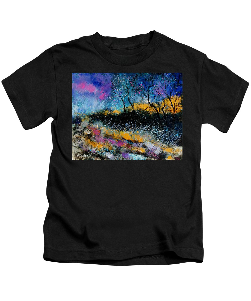 Landscape Kids T-Shirt featuring the painting Magic Morning Light by Pol Ledent