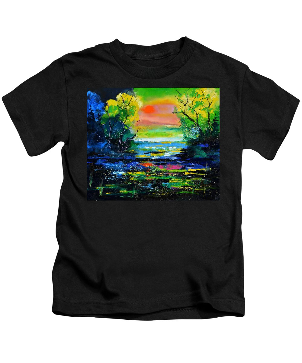 Landscape Kids T-Shirt featuring the painting Magic Pond 765170 by Pol Ledent