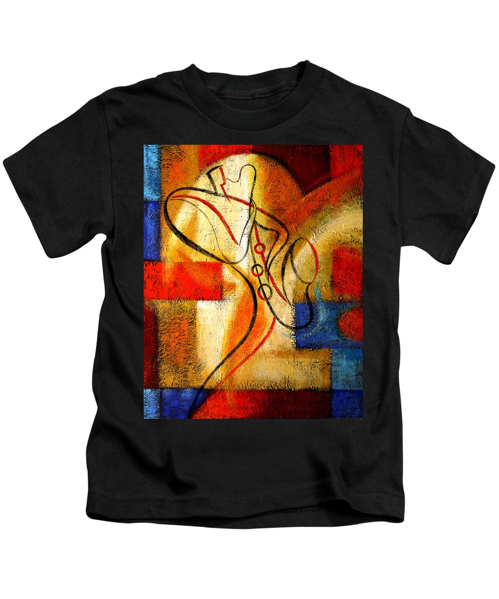 West Coast Jazz Kids T-Shirt featuring the painting Magic Saxophone by Leon Zernitsky