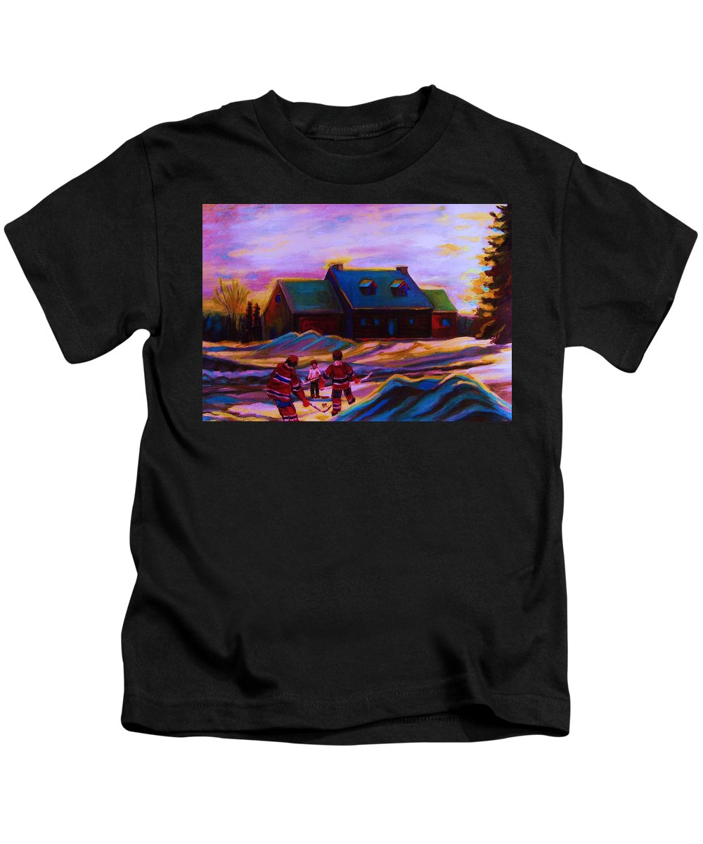 Hockey Kids T-Shirt featuring the painting Magical Day For Hockey by Carole Spandau