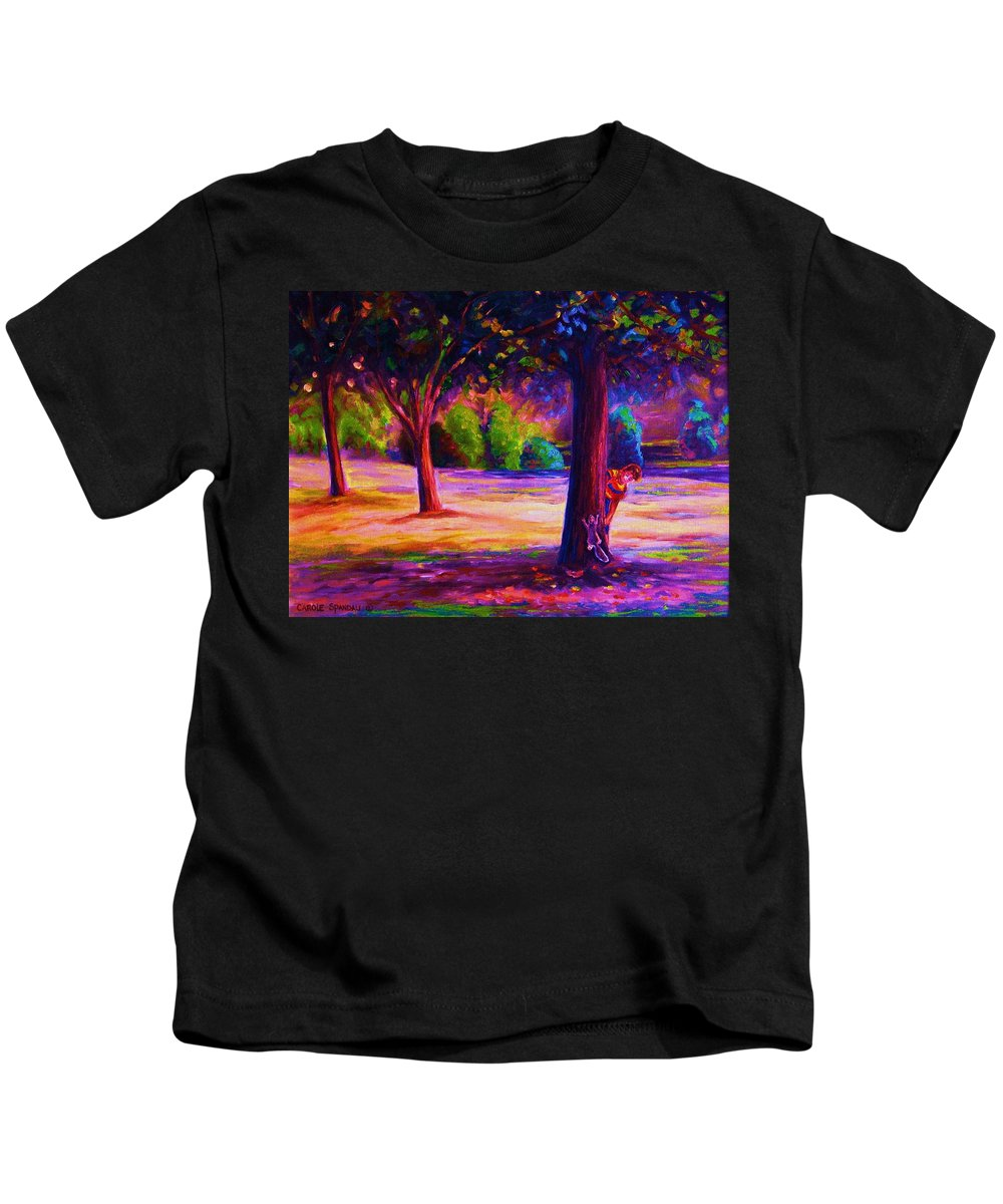 Landscape Kids T-Shirt featuring the painting Magical Day In The Park by Carole Spandau