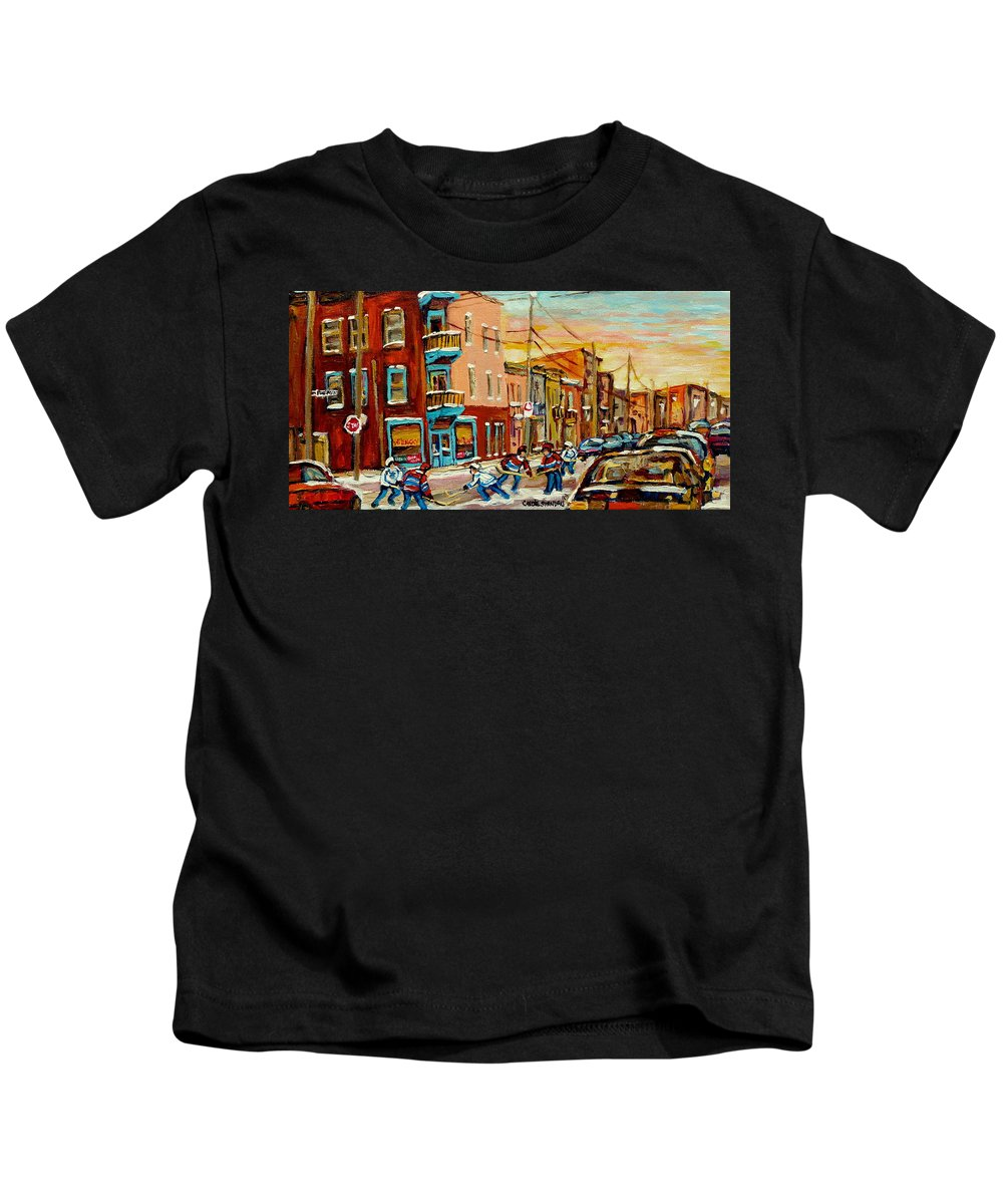 Hockey Kids T-Shirt featuring the painting Magical Hockey Game by Carole Spandau