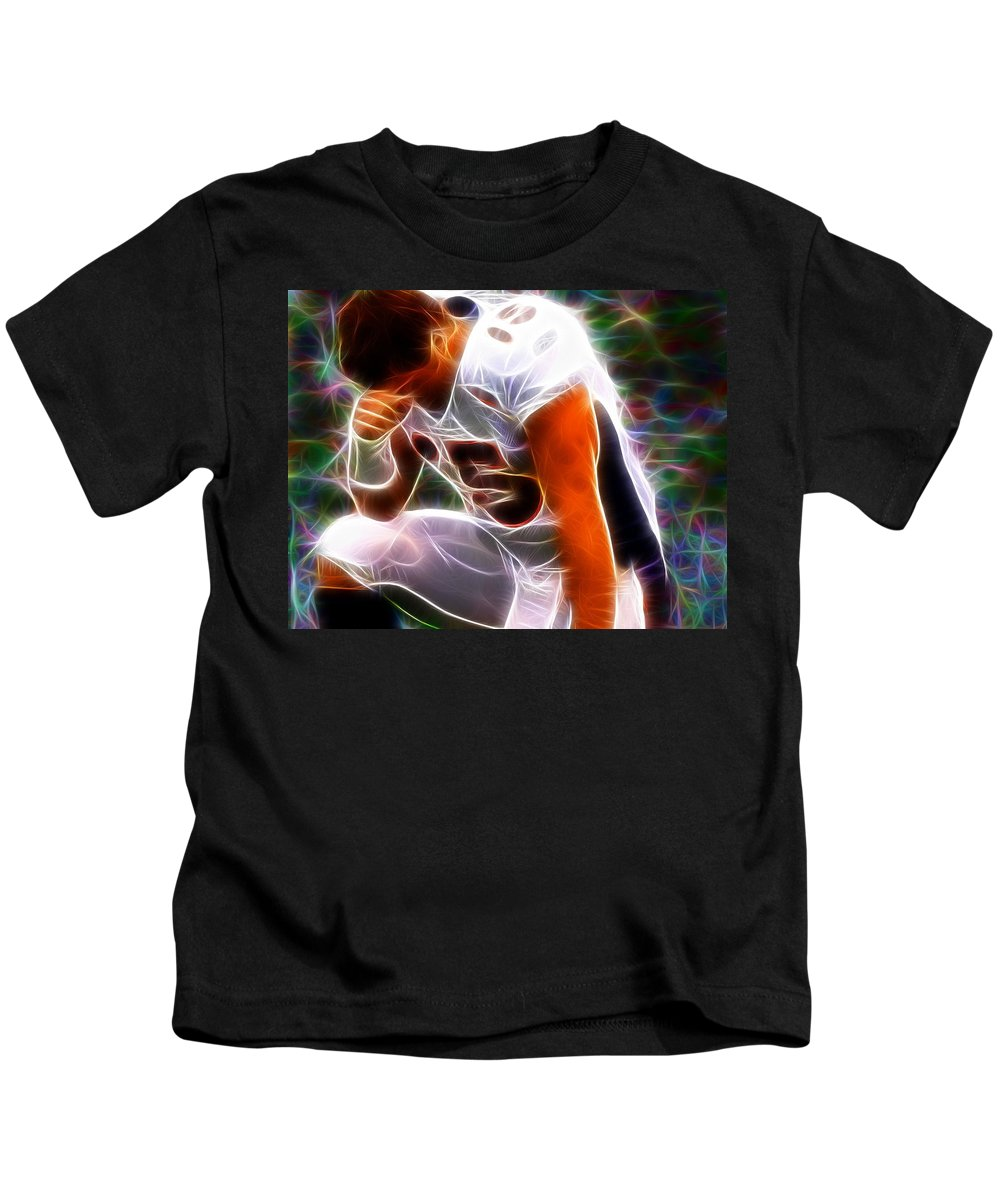 Tim Tebow Kids T-Shirt featuring the painting Magical Tebowing by Paul Van Scott
