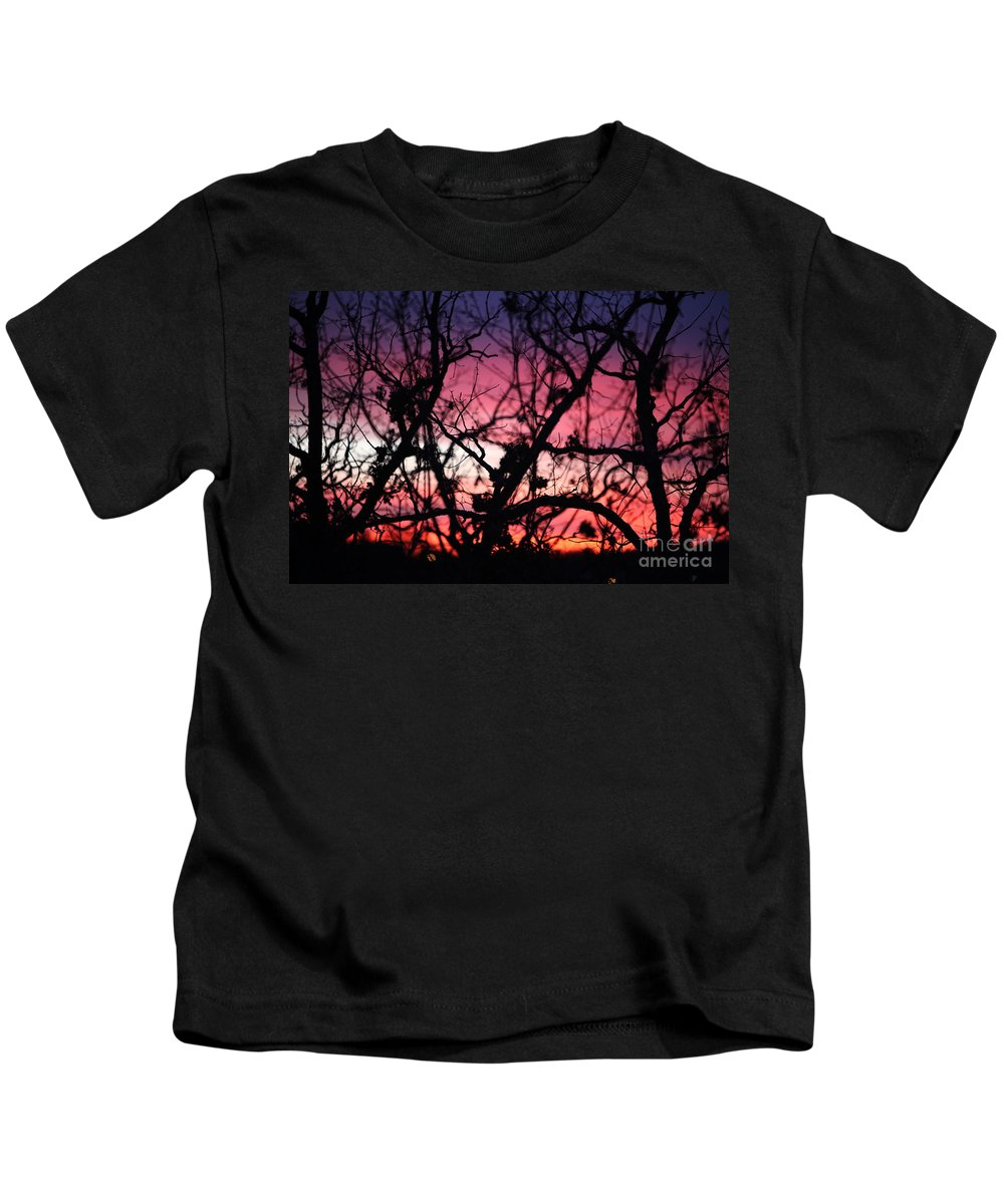 Sunset Kids T-Shirt featuring the photograph Magnificent Sunset And Trees by Nadine Rippelmeyer