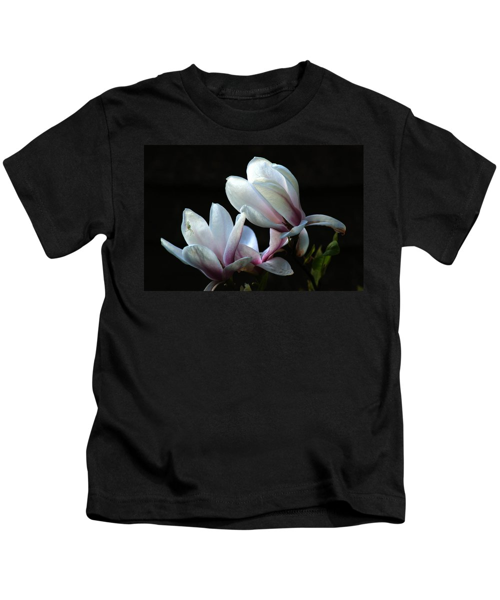 Magnolia Kids T-Shirt featuring the photograph Magnolia And House Guest by Chris Day